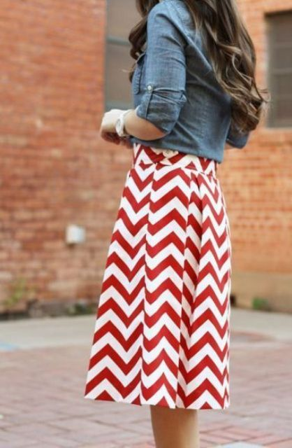 red and white chevron skirt and a denim jacket