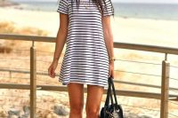 16 striped dress with sneakers for a coastal look