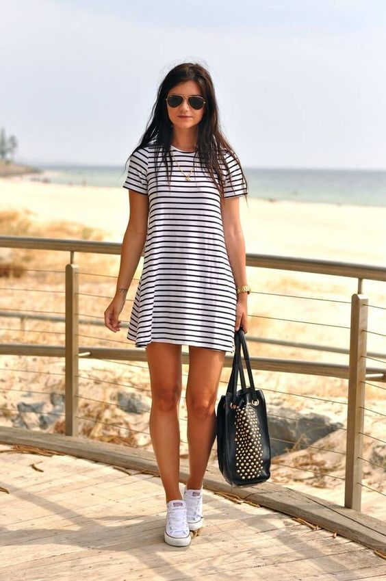 striped dress with sneakers for a coastal look