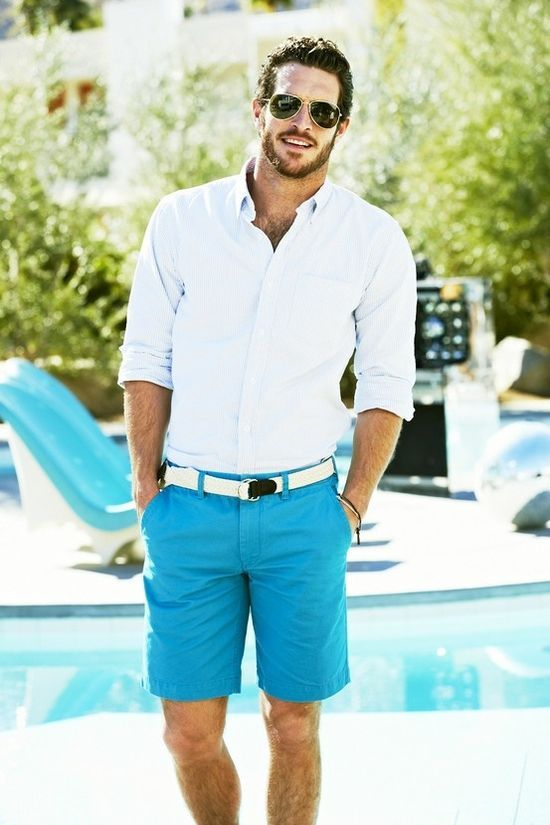 turquoise shorts for a statement