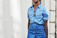 17 double denim look with a button down denim skirt
