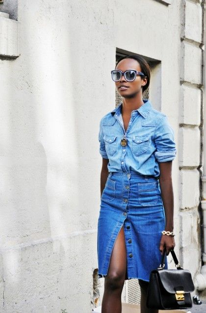 double denim look with a button down denim skirt
