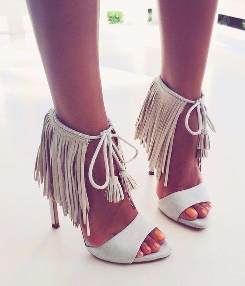 fringed high heels