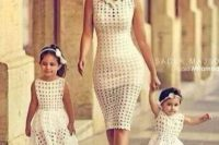 17 perforated white dresses for mom and daughters