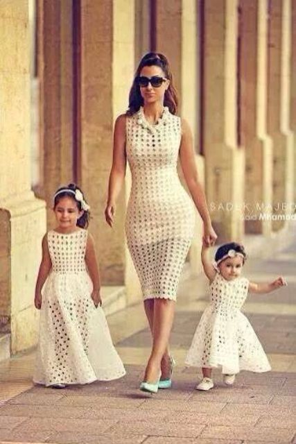 perforated white dresses for mom and daughters