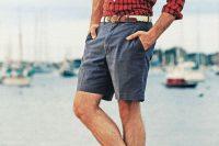 17 red plaid shirt and denim shorts