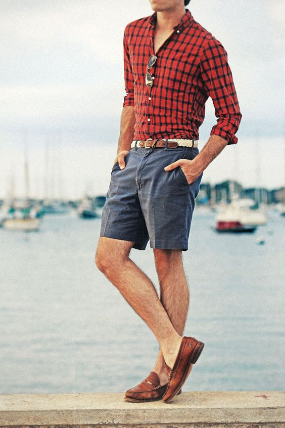 red plaid shirt and denim shorts