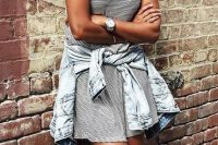 17 striped dress, a bleached chambray shirt and converse