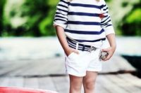 17 striped shirt and white shorts for a seaside look