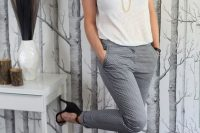 17 white top and grey patterned pants with black heels