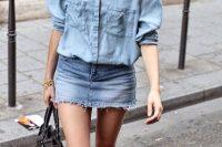18 double denim look with a denim mini and a denim shirt