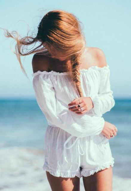 off the shoulder white romper