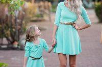 18 plain mint dresses with leater belts
