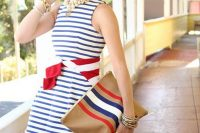 18 striped blue and white dress with a wide sash