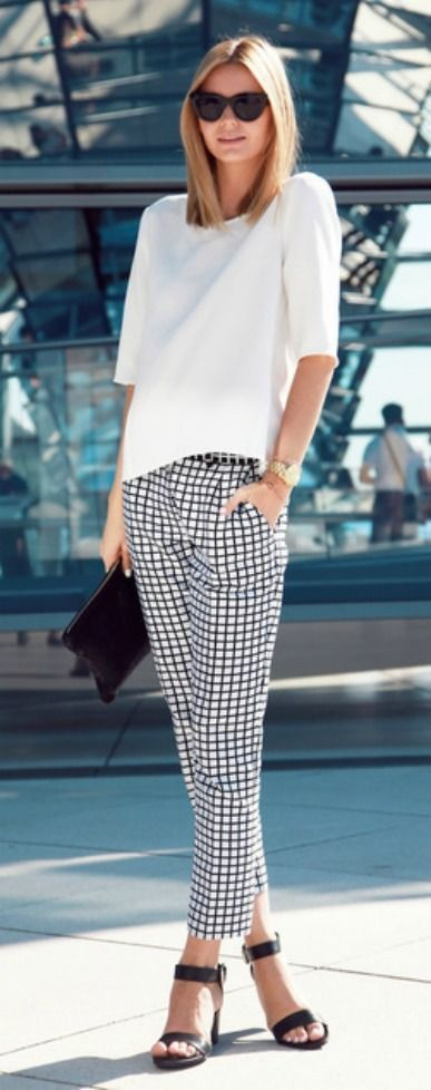 tailored white shirts and checked pants with black heels