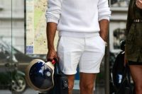 18 white shorts and a white sweater