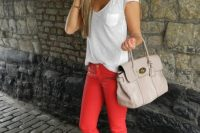 19 bold pants, a white tee and converse