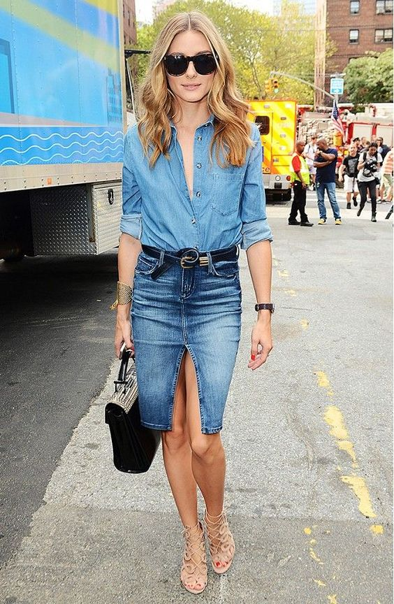 denim on denim look with a pencil denim skirt