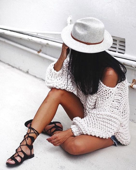 knit and lace up sandals