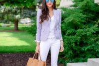 20 lavender jacket, white pants and top with nude heels