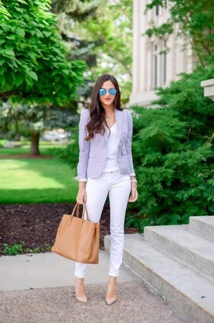 lavender jacket, white pants and top with nude heels
