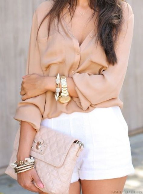 nude shirt with white shorts