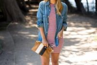 20 striped red and white dress with a denim jacket