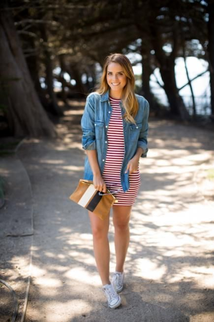striped red and white dress with a denim jacket