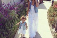 20 white maxi dresses and denim vests