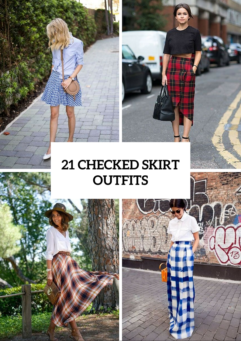 Creative Checked Skirt Outfits For Summer