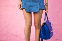 21 cutout denim skirt with a white t-shirt