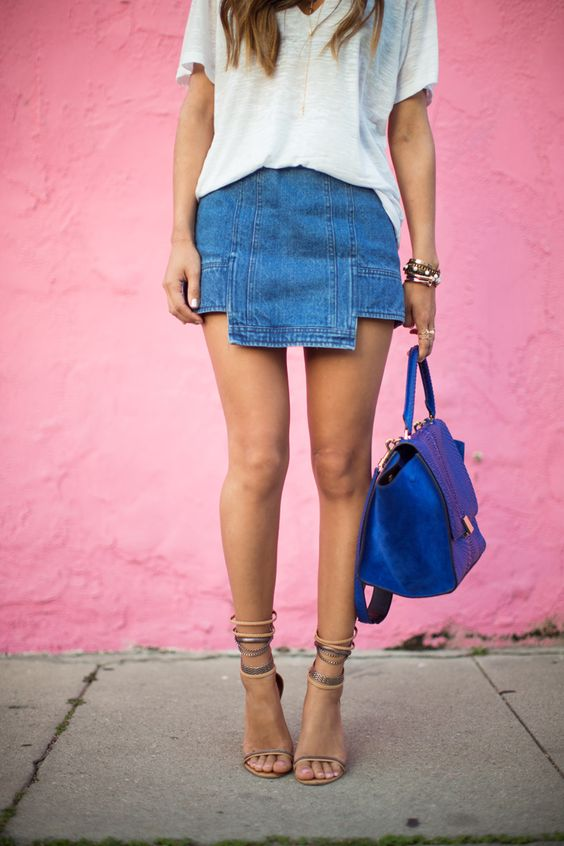cutout denim skirt with a white t-shirt