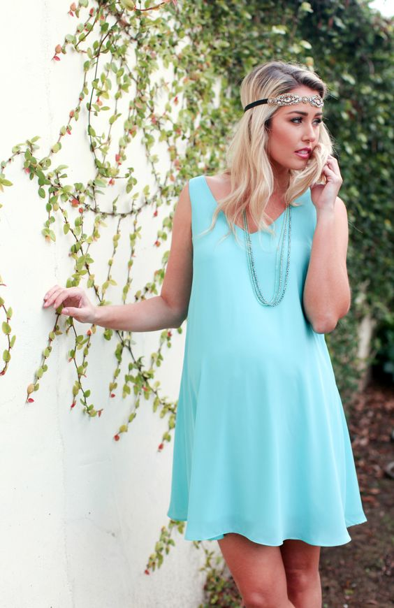 Simple Aqua Baby Shower Dress For A Mom