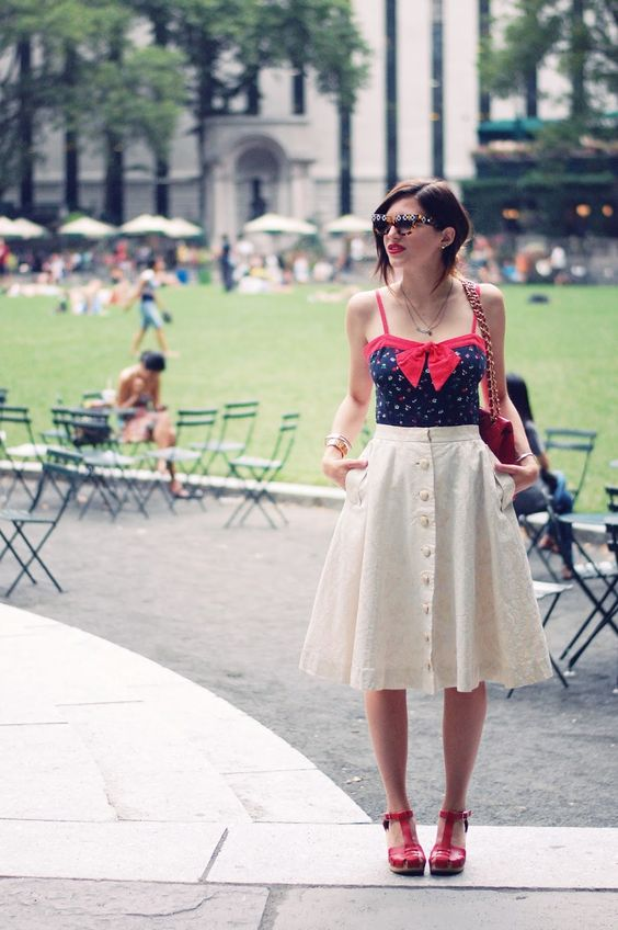 vintage button down skirt and a navy and red top