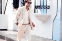 21 white suit with white sneakers