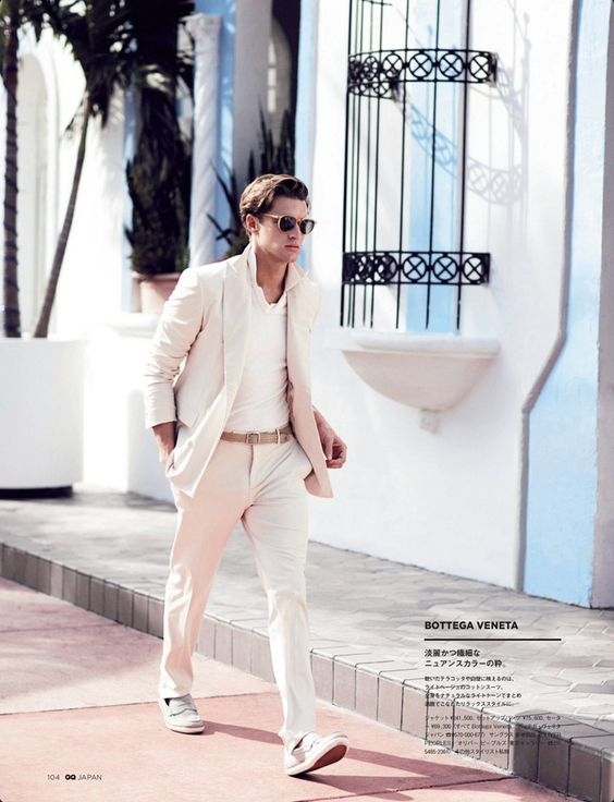 white suit with white sneakers