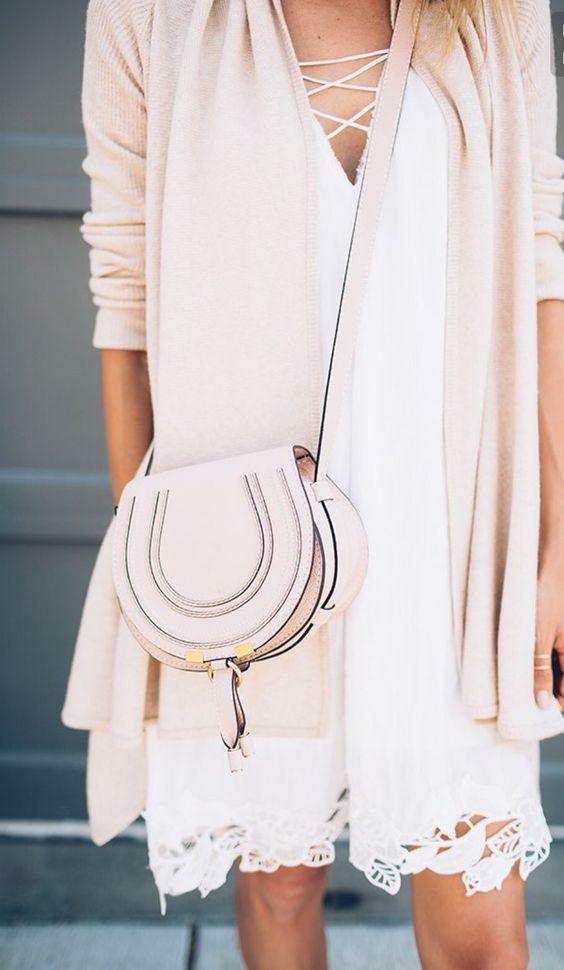 white sundress with a blush cardigan