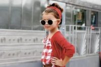 22 checked red romper with a red cardigan
