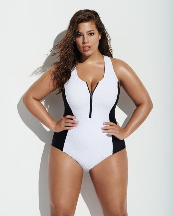 color block zipper one-piece for a plus-size girl