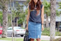 22 denim midi with a printed top and red sandals