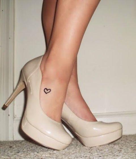 heart foot tattoo