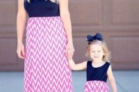 22 pink and white chevron skirts and navy tops