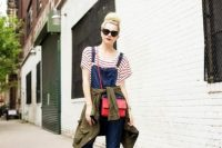 23 denim dungaree with a striped tee and bold red crossbody
