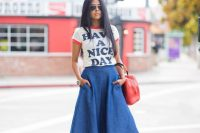 23 denim midi with a printed top and sandals