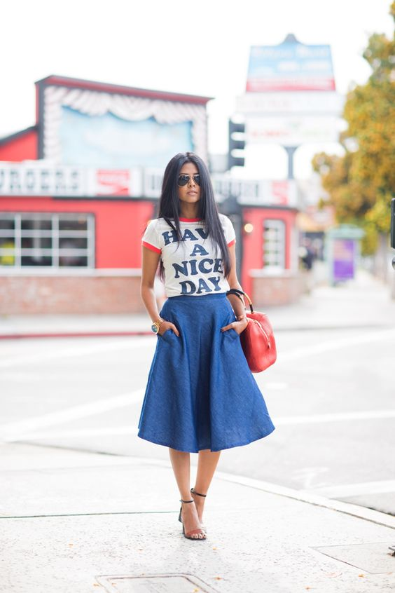 denim midi with a printed top and sandals