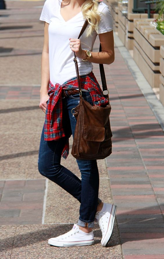 jeans, a white tee, a checked shirt and converse
