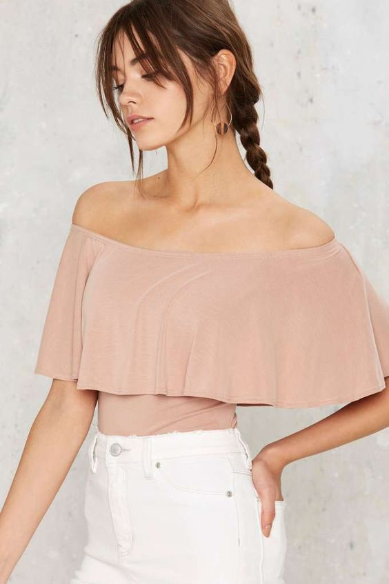 rose quartz off the shoulder top and white jeans