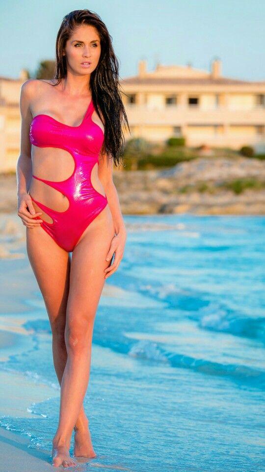 wet look fuchsia leather swimsuit