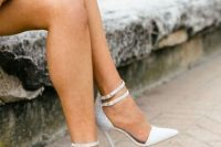 23 white ankle strap heels