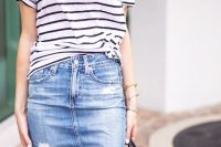 26 denim over the knee skirt and a striped top